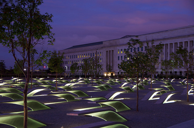 """The Pentagon Memorial. Photo Credit: """"Memorial at night"""" © 2009 by Mike Myers (CC BY 2.0)"""
