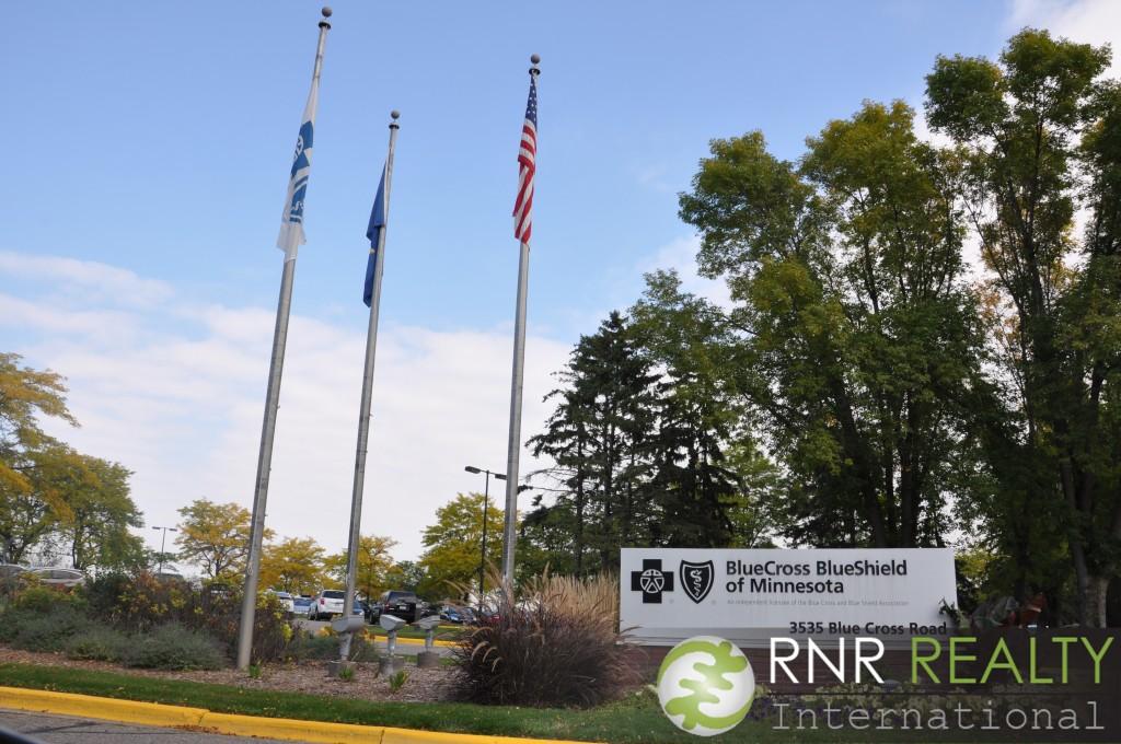 Blue Cross Blue Shield of Minnesota sign. outside of headquarters.