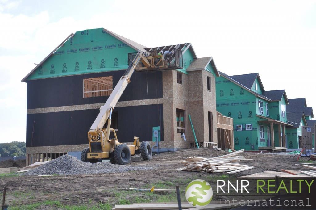 Construction in a new housing development in Eagan, MN.