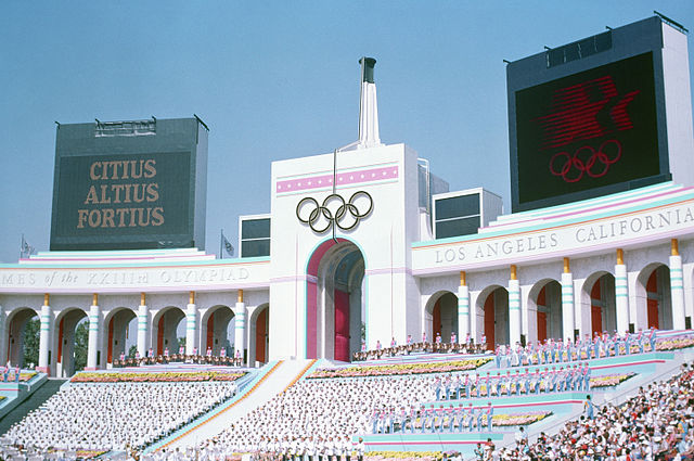Olympic Torch Tower of the Los Angeles Coliseum By unknown, U.S. Air Force [Public domain], via Wikimedia Commons https://commons.wikimedia.org/wiki/File%3AOlympic_Torch_Tower_of_the_Los_Angeles_Coliseum.jpg 28 July 1984