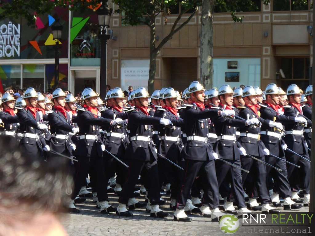 Part of the Bastille Day military procession down the Champs Élysées.